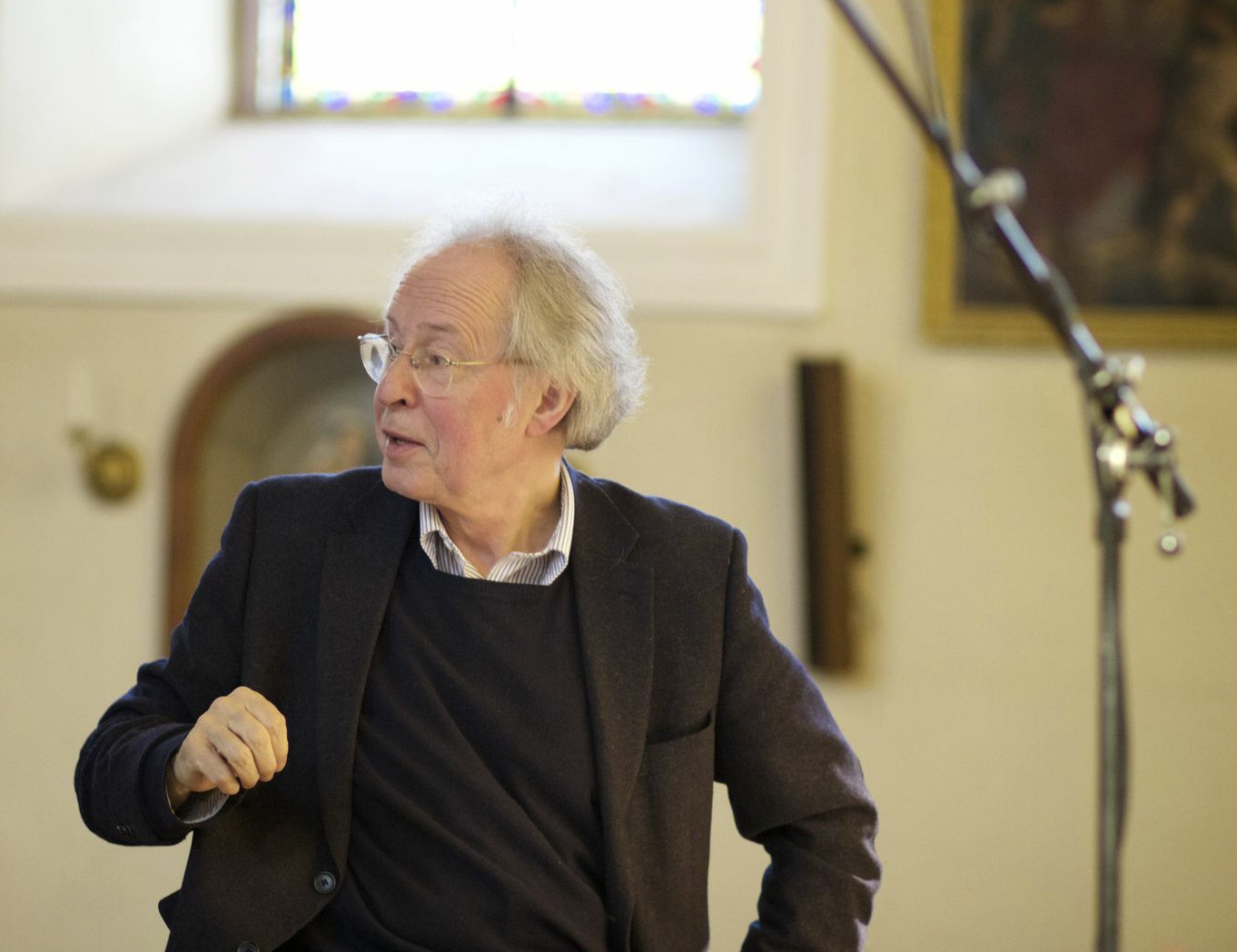 Hans Michael Beuerle en octobre dernier, lors de l'enregistrement du Requiem de Campra. Benoît Haller figuraient parmi les solistes.
