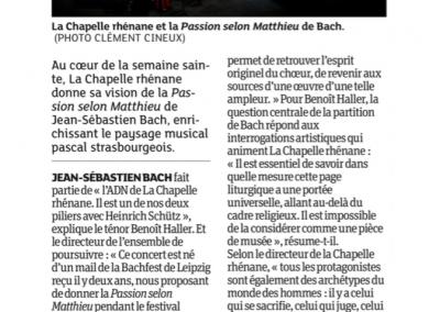 Passion selon Matthieu - Dernières Nouvelles d'Alsace