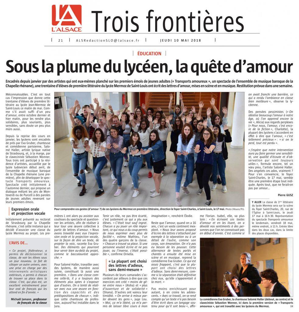 """Le journal """"L'Alsace"""" présente la résidence de médiation et de création à Saint-Louis (68) - mai 2018"""